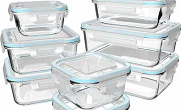 Glass Food Storage Containers with Lids - Glass Containers with Lids for Food - Reusable Bento Box Glass Lunch Containers with Locking Lids - Glass Meal Prep Containers - BPA Free