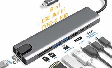 USB C Hub - Creatck 8 in 1 Multifunctional Aluminum Type C Adapter with 4K HDMI Port, RJ45 Ethernet Port, USB-C Power Delivery, 2 USB 3.0 Ports, SD/TF Card Reader, Compatible for USB C Devices