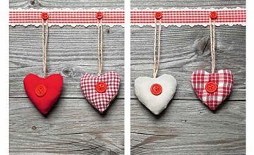 WENKO Universal Cover Plates Hearts-Set of 2, for All Types of cookers, Tempered glass, Multicoloured, 52 x 30 x 0.1 cm