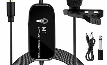 Lavalier Microphone,K&F Concept M1 3.5mm Lav Rechargeable Lapel Condenser Omnidirectional Mic with Clip-on Recording System for Smart Phones DSLR Cameras Video Macbook for Youtube/Interview Conference