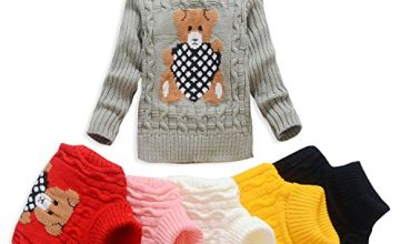 VIFUUR Kids Bear Turtleneck Sweater Boys Girls Knit Sweater