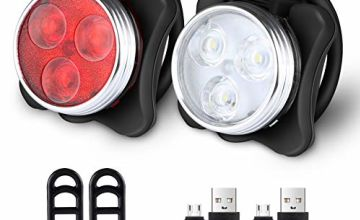 Defurhome USB Bike Light Set, 650mAh Rechargeable Battery Super Bright Bicycle Light, Bike Lights Front and Back, Waterproof (4 Modes,2 Cables, 4 Straps)