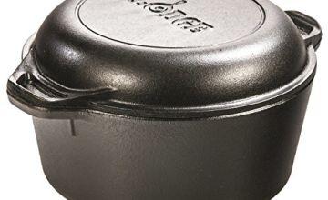 Lodge 4.73 litre / 5 quart Pre-Seasoned Cast Iron Double Dutch Oven (with Loop Handles)