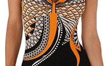 AlvaQ Womens Tribal Print Tummy Control One Piece Swimsuit