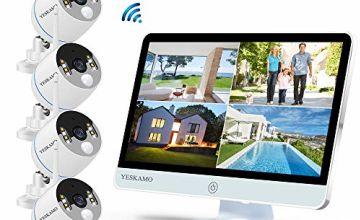 YESKAMO Wireless CCTV Camera System 1080P [ Floodlight & Monitor ] WiFi IP Camera Set 16'' Full HD IPS Screen, 8CH Outdoor 4 Cameras Kit with Audio