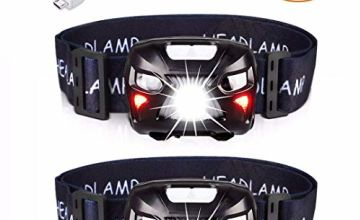 APUNOL 2Packs Head Torch, Rechargeable Waterproof Headlamp LED Headlight with Red Filter,Super Bright 400LM,8 Lighting Modes,Motion Sensor Switch for Camping Hiking Running Reading Outoor Sports …