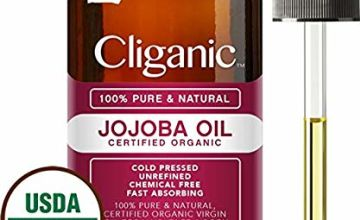 Certified Organic Jojoba Oil 473ml with Pump   100% Pure Natural Cold Pressed Unrefined, Hexane Free Carrier Oil   for Hair Face & Nails   Cliganic 90 Days Warranty
