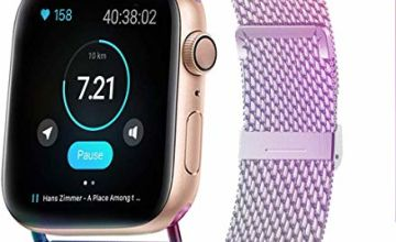 HILIMNY Compatible for Apple Watch Strap 38mm 40mm 42mm 44mm, Stainless Steel Mesh Sport Wristband Loop with Strong Magnetic Closure Strap Adjustable Magnet Clasp for iWatch Series 1, 2, 3, 4, 5