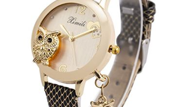 Ladies Watches,Bling Watch Ladies with Mesh Stainless Steel Band,SIBOSUN Crystal Quartz Owl Pendant Watches for Women
