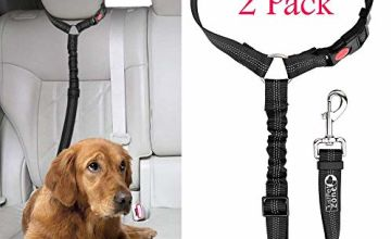 Just Pet Zone Headrest dog car seat belt 2 Pack Adjustable Durable Headrest Seat belt Pet Dog Car Safety Harness Restraint with Elastic Nylon Bungee Buffer