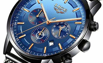 LIGE Mens Watches Stainless Steel Waterproof Sport Analogue Quartz Watch Men Chronograph Moon Phase Watch