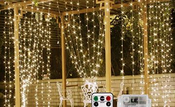LE Fairy Curtain Lights, USB or Battery Powered, 8 Modes with Remote