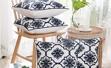 Deconovo Window Grille Embroidery Cushion Covers 45cm x 45cm(18x18in)