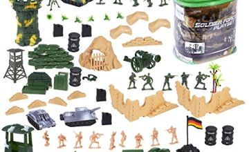 deAO 100 Piece Military Play Set with Toy Soldiers; Military Figures; Tanks; Planes; Flags; Carry Case and Battlefield Accessories
