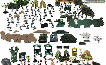 deAO 303 Piece Military Playset with Toy Soldiers; Military Figures; Tanks; Planes; Flags; Carry Case and Battlefield Accessories