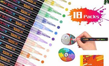 Acrylic Paint Pens, Set of 18 Permanent Marker Pens for Rock Painting, Glass, Wood, Canvas, Pebbles, Porcelain, Photo Album, Mug, DIY Crafts Extra-fine tip 0.7mm
