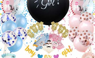 Satkago Baby Gender Reveal Party Supplies 115 Pcs with 36'' Gender Reveal Confetti Balloon, Boy or Girl Glitter Banner, Mylar Balloons, Confetti Balloons, Photo Props, Cupcake Toppers and Stickers