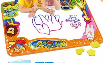 EpochAir Water Drawing Mat, Kids Toys Doodle Painting Mat with 6 Colors 2 Magic Pens 1 Brush 86 x 57CM Educational Learning Colouring Set Gifts for Girls Boys Toddlers Indoor Outdoor Garden Game