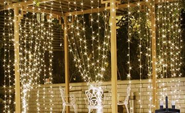LE 306 LED Curtain Fairy Lights Plug in, 3m x 3m Warm White Christmas Lights, 8 Modes String Lights Mains Powered for Indoor Outdoor, Garden Gazebo, Pergola, Wedding Party, Summer House and More