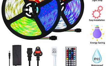 Mowetoo LED Strips Lights 10M 300LEDs 5050 Color Changing RGB SMD with 44-Keys Remote Control, IP65 Waterproof 12V Power Decoration for Kitchen Wedding Party Garden House