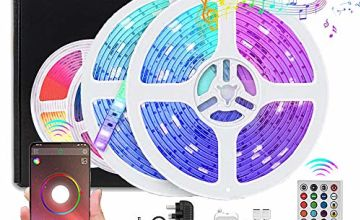 10M (32.8ft) LED Strip Lights, COOLAPA Bluetooth Strips Lighting, Waterproof IP65 5050 RGB 300LEDs Light Strip with 12V Power - 40 Keys IR Remote Control, for Kitchen Garden Party Christmas Decoration