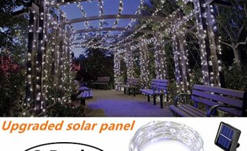 [2 Pack] Ooklee Solar Powered String Lights,Solar Fairy Lights,10 Meters/ 33Ft 100LEDS / 8 Modes,Waterproof Copper Wire Lighting for Indoor,Outdoor,Wedding,Patio,Home,Garden Decoration