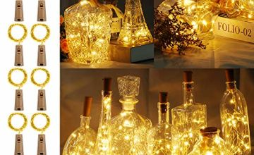 LED Bottle Lights with Cork, BIG HOUSE Fairy Lights Cork Copper Wire Lamp, 2M 20LEDs Battery Operated Wine String Lights for DIY, Parties, Decoration, Christmas, Halloween,Wedding(Warm White)