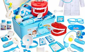 Buyger 35 Pcs Doctors Set for Kids Dress Up Costumes for Children Pretend Role Play Medical Carry Case with Electronic Stethoscope