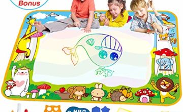 Vykor Aqua Mat Large Water Drawing Mat 70x100cm Water Doodle Mat Travel Drawing Painting Mat with Water Doodle Pens Drawing Painting Stencils,Educational Toy Toddlers,Educational Gifts for Kids