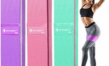 FITFORT Resistance Bands Set Men/Women (3 Packs), Exercise Bands for Legs & Butt, Non-Slip Workout Bands Booty Bands With 3 Resistance Levels, Ideal for Squats/Glute Bridge/Lunges/Pilates and Yoga