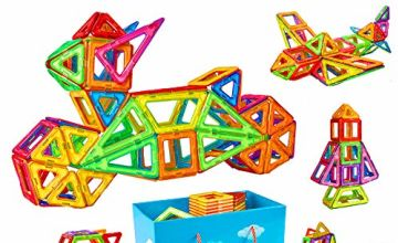 Crenova MB-116 116pcs Building Blocks Magnetic Construction Set Included Ferris Wheels Carrying Bag Booklet Toys for Kids, Multicoloured
