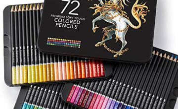Castle Art Supplies 72 Coloured Pencil Set for Adult Colouring Books or Kids School Supplies - Premium Artist Soft Series Lead with Vibrant Colours