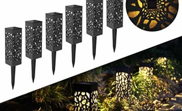 FLOWood Solar Light Garden LED Solar Hollow Light Waterproof IP65 Solar lamp for Garden Outdoor with Ground Spike Plastic 6 x 6 x 28 cm Warm White 6 Pieces