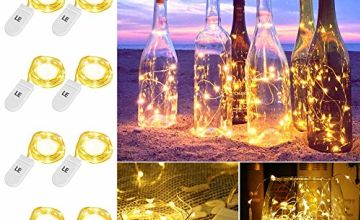 LE Battery Operated String Fairy Lights, 20 LED Micro Silver Copper Wire Starry Light, 1m Warm White Waterproof Firefly Lights, Decorative Moon Lights for DIY, Wedding, Christmas, Centerpiece and More