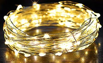 OMERIL Fairy Lights, 2 Pack 12M 120LEDs String Lights Battery Operated, Flexible Copper Wire Firefly Light for Girls/Boys Bedroom, Wall, Wedding Birthday Party, Christmas, Tent Decoration (Warm White)