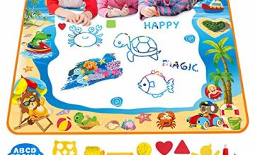 Water Doodle Mat Aqua Drawing Painting Mat Large 100 x 70cm Mess Free Learning Toys for 2 3 4 5 6 Year Old Boys Girls Toddlers Birthday Gift with 3 Magic Pens, Stamp Set