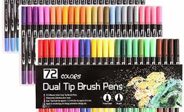 Dual Tip Brush Pens, Funnasting 72-Colors Brush Fineliner Pens Colouring Pens Brush Tip Art Markers for Kids and Adults Colouring, Sketching, Painting