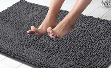 ITSOFT Non-Slip Shaggy Chenille Soft Microfibers Bathroom Rug with Water Absorbent, Machine Washable