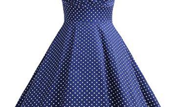Bbonlinedress Women's 50s 60s A Line Rockabilly Dress Cap Sleeve Floral Vintage Swing Party Dress Navy Small White Dot 2XL