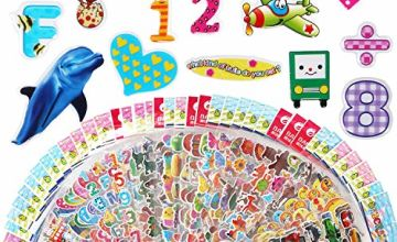 Vicloon 3D Stickers for Kids Puffy Stickers 500+ children Stickers 22 Variety Sheets for Rewarding Gifts Scrapbooking Including Animals, Fish, Dinosaurs, Numbers, Fruits, Trucks, Airplane, and More