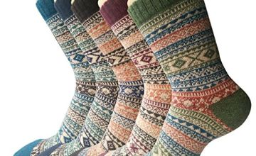 5 Pairs Womens Socks Wool Thermal Warm Knitting Ladies Socks for Winter, One Size, A3