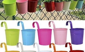 10 x Metal Iron Flower Pot Vase Hanging Balcony Garden Planter Home Decor