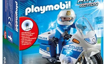 Playmobil 6923 City Action Police Bike with LED Light, for Children Ages 5+