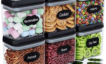 Chef's Path Airtight Food Storage Container Set - 10 Chalkboard Labels & Marker - Kitchen & Pantry Containers - BPA-Free - Clear Plastic Canisters with Improved Durable Lids (6 Piece Set - 1.5L)