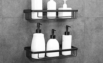 Gricol Shower Shelf No Drilling Space Aluminum Wall Mounted Rectangle Storage Organiser Self Adhesive Shower Caddy Basket with Soap Sponge Holder for Bathroom Kitchen 2 Tiers (Black)
