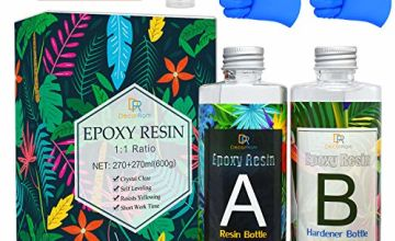 Epoxy Resin - 17.6 Ounce Crystal Clear Epoxy Resin for Casting and Coating - Easy Mix 1:1 Ratio Transparent 2 Part Resin for Table Tops, Jewelry Making, Tumbler, Painting and Craft Decoration - 540ml
