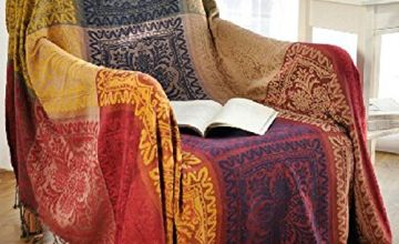 amorus Chenille Jacquard Tassels Throw Blanket Sofa Chair Cover Tablecloth - Colorful Tribal Pattern (59 Inch x 75 Inch)