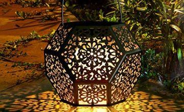 Solar Light Outdoor Lantern GolWof LED Solar Lantern Outdoor Decorative Diamond Shaped Hanging Garden Light - Silver