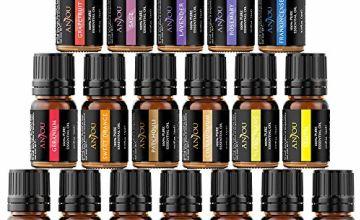 Anjou Essential Oils Set (18 x 5mL Oils, 100 Percent Pure Lavender, Sweet Orange, Tea Tree, Eucalyptus, Lemongrass, Peppermint, Bergamot, Frankincense, Lemon, Rosemary, Cinnamon, Ylang Ylang