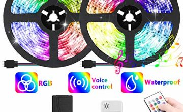 AveyLum Music LED Strip Light 10M DearmColor Flexible Tape Lights 5050 SMD RGB 300 LEDs Waterproof IP65 Rope Light with 20 Keys Musical Wireless Controller and 12V Power Adapter for Home Kitchen Party